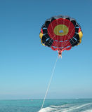 Parasailing at Punta Cana. Woman parasailing at Punta Cana in the Dominican Republic royalty free stock photography
