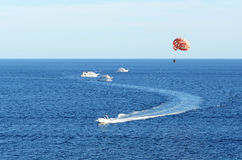 Parasailing at the resort Stock Photos