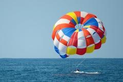 Parasailing on sea, failed attempt. stock photo