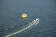Parasailing smiling face. Aerial view of parasailing Stock Images