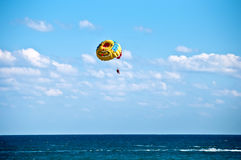 Parasailing in summer . Royalty Free Stock Images