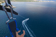 Parasailing in summer on the Adriatic Sea Royalty Free Stock Photos