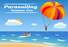 Parasailing - summer kiting activity. Person is towed behind a boat Stock Photos