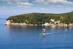 Parasailing Valtos beach Parga Greece Royalty Free Stock Photo