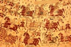 PARASARAMPURA RAJASTHAN, INDIEN - DECEMBER 27, 2017: Forntida frescoes på Sardul Singh Cenotaph royaltyfri bild
