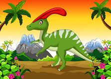 Parasaurolophus cartoon in the jungle Stock Photography