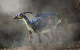 Parasaurolophus in de Mist stock illustratie