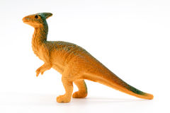 Parasaurolophus dinosaur toy model on white background. Closeup Stock Photography