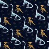 Parasaurolophus, diplodocus en de fossielen van het dinosaurusskelet Vector naadloos patroon vector illustratie
