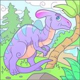 Parasaurolophus divertente, immagine sveglia Fotografia Stock Libera da Diritti