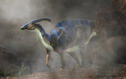 Parasaurolophus en la niebla stock de ilustración