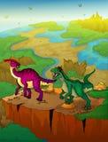 Parasaurolophus en roofvogel met landschapsachtergrond vector illustratie