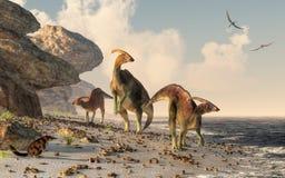 Parasaurolophus en una playa foto de archivo