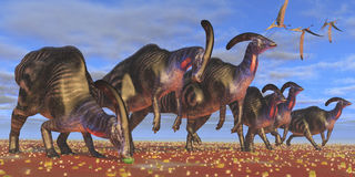 Parasaurolophus Herd Royalty Free Stock Photography