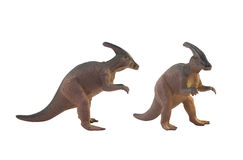Parasaurolophus. Isolated toy dinosaur parasaurolophus profile and agle view Royalty Free Stock Image