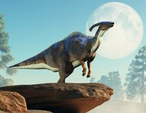 Parasaurolophus som tjuter på månen royaltyfri illustrationer