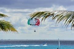 Parascenders sobre o mar das caraíbas em México Fotos de Stock