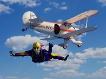 Parashutist en Vliegtuig Royalty-vrije Stock Afbeeldingen