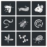 Parasites icons set. Vector Illustration. Stock Photos