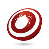 Parasitic tick on red button Royalty Free Stock Photos