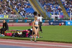 Paraskevi Papachristou. The representant of Greece at long jump on Diamond League in Rome, Italy in 2016 royalty free stock photo