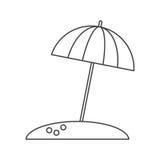 Parasol ομπρελών παραλιών οι διακοπές ήλιων λεπταίνουν τη γραμμή διανυσματική απεικόνιση