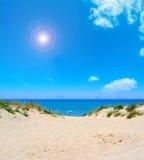 Parasol alone at the beach Royalty Free Stock Photo