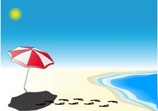 Parasol on the Beach. A parasol on the beach. The owner is swimming vector illustration