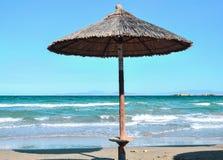 Parasol on the beach. Beach umbrellas at the beach Stock Photo