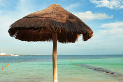 Parasol on caribbean beach Stock Image