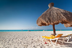 Parasol at Caribbean Sea. Under parasol at Caribbean Sea in Mexico Stock Image