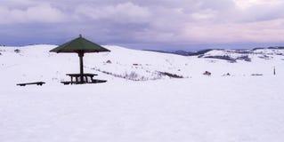 Parasol dans la neige de montagnes photographie stock