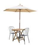 Parasol de la silla de tabla de Caffe Imagen de archivo