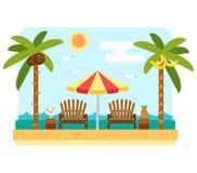 Parasol de playa y silla Fotos de archivo