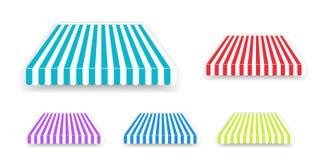 Parasol de tente pour la fen?tre, toit ray? color? d'isolement Tentes r?alistes de tente de boutique r?gl?es illustration stock