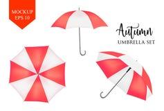 Parasol de vecteur, parasol de parapluie de pluie rouge, moquerie rayée de rond  illustration stock