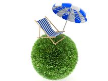 Parasol with Deck chair. Isolated on white background Stock Photography