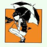 Parasol, dziewczyna, podeszczowa Pomarańczowa sztuka ilustracja wektor