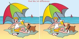 Parasol-find 10 differences. Find ten differences in the pictures - man on the beach Stock Images