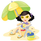 Parasol girl. Girl sitting under a parasol on the beach royalty free illustration