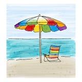 Parasol i krzesła przy dennym brzeg i morzem Obrazy Royalty Free