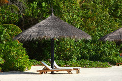 Parasol on Maldives beach Royalty Free Stock Images