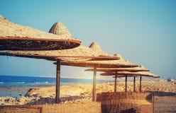 Parasol na plaży Fotografia Stock