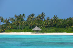 Parasol na praia de Maldivas Fotos de Stock Royalty Free