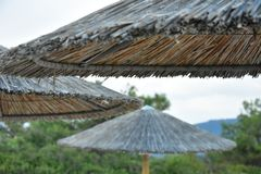 Parasol Parasol na Thasos obraz stock
