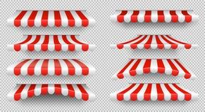 Parasol rouge et blanc Tentes extérieures pour l'ensemble de vecteur d'isolement par fenêtre de café et de boutique illustration libre de droits