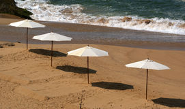Parasol on a sandy beach Stock Photos