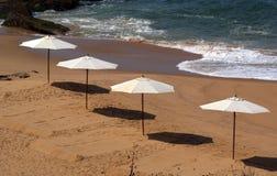 Parasol on a sandy beach. Ocean Stock Image