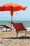Parasol and sunchair Royalty Free Stock Image