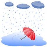 Parasol w kałuży w deszczu Obraz Royalty Free